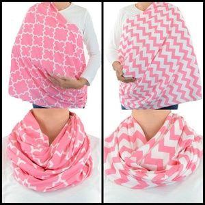 Pink Breastfeeding Cover Chevron Quartrefoil Scarf